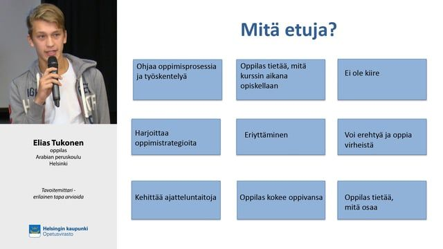 Tavoitemittari - Erilainen tapa arvioida. Eve Lappalainen, Arabian peruskoulu, Helsinki.