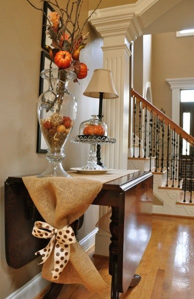 For Fall -Burlap table runner with bow (cute and easy!) front table