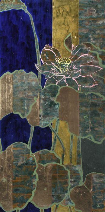 paperimages: Robert Kushner - Blue Nile Pink Lotus, 2008, Oil, Acrylic, Gold Leaf, Copper Leaf on Canvas