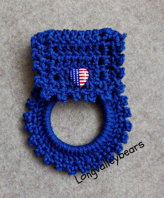 Hand crochet towel holder by longvalleybears on Etsy, $2.99