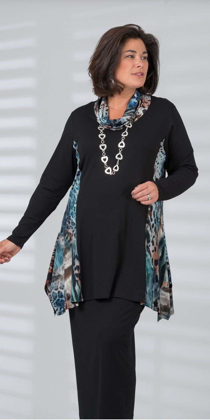 Kasbah blue/animal/black jersey print cowl top