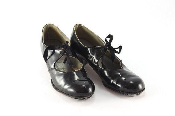 Ladies 1950s Selva black patent tap dancing by FindsFromYesteryear, $19.99