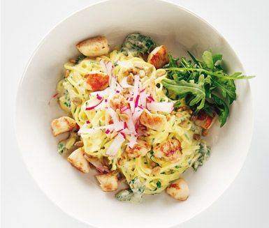 Kyckling- och ädelostsås är en mycket delikat och luxuös rätt med förstklassiga råvaror som kycklingfilé, basilika, rucola, rädisor och ädelost. Rätten är snabblagad och smakerna passar till både vardag och fest.