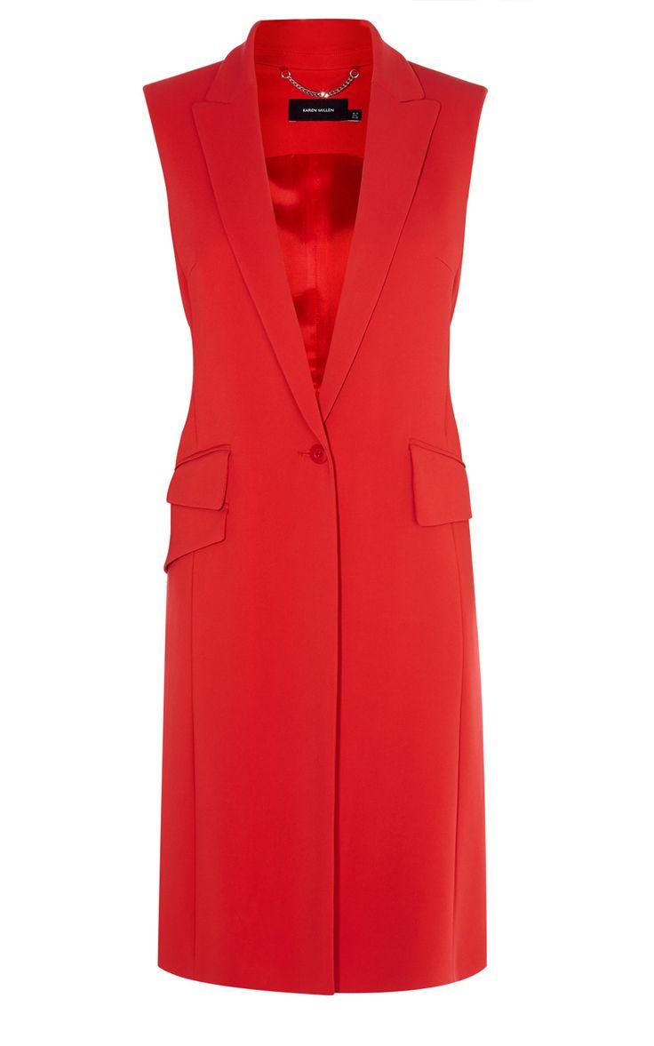 Neu in Bekleidung   Rot Farbenprächtige taillierte Weste   Damenmode   Karen Millen