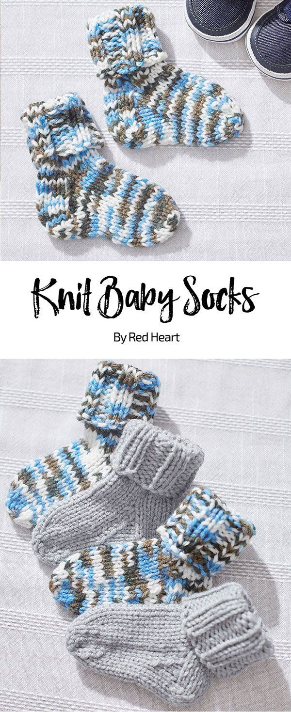 Knit Baby Socks free knit pattern Baby Hugs Medium yarn. Knit a pair ...