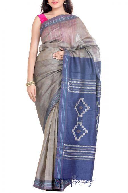 Gray & Blue Bhagalpur Tussar Silk Saree