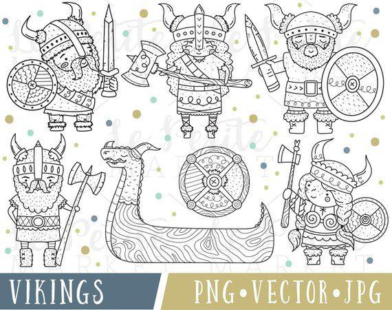 Viking Line Clipart Instant Download Digital Clip Art Images Etsy Minion Coloring Pages Clip Art Line Clipart