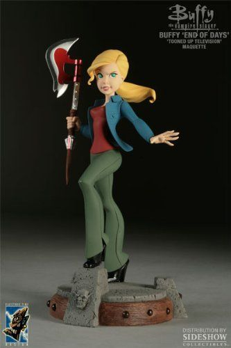 "Buffy Summers Statue - End of Days by Electric Tiki. $259.99. 10"" Polystone statue. Electric Tiki and Sideshow Collectibles are proud to present the Buffy Summers Statue based on Buffy's appearance in the final season episode, End of Days, the latest to join Tracy Mark Lee's Tooned Up Television series, an ongoing salute to classic TV characters."