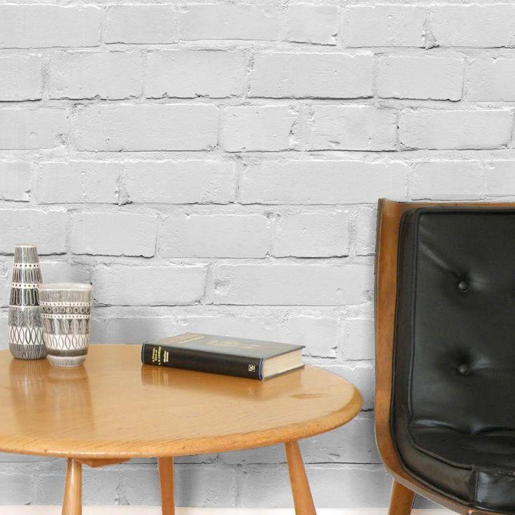 Loft| White Brick Effect wallpaper |White/Grey