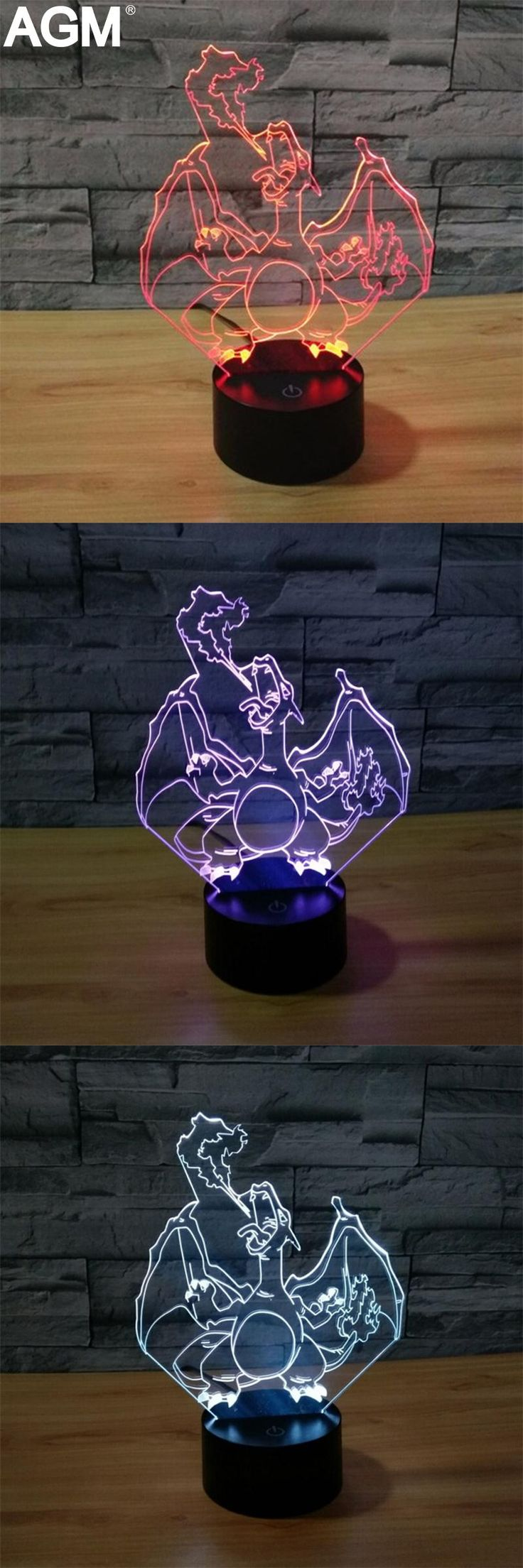[Visit to Buy] NEW Pokemon Go Charizard 7 Color 3D Lamp Mega Night Lights 3D Touch USB Visual Table lamp Pikachu 3D NightLights For Kids Gifts #Advertisement