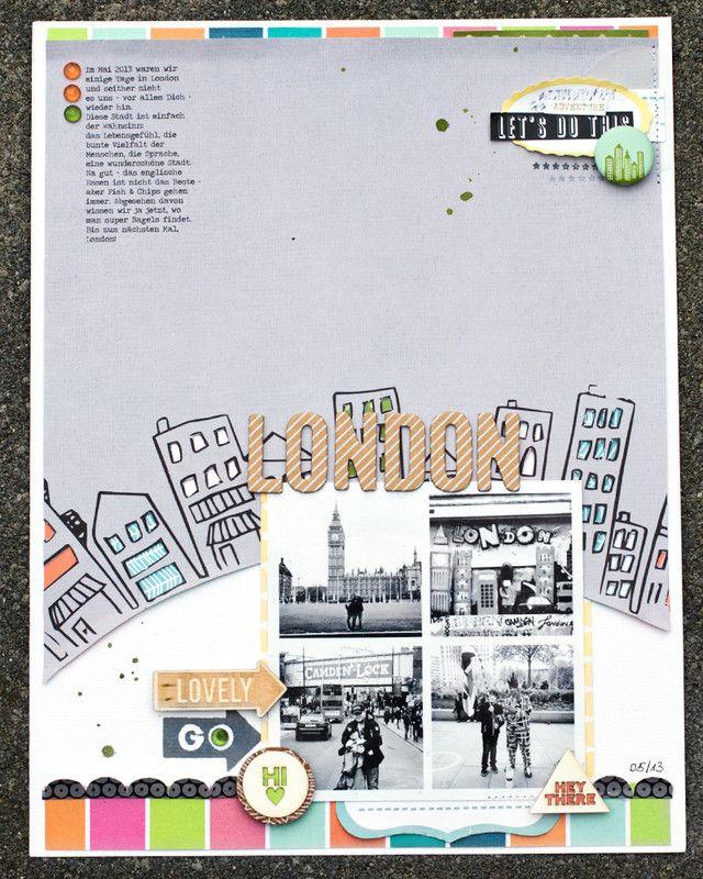 #papercraft #scrapbook #layout.  *london* by JanineLanger at @Studio_Calico