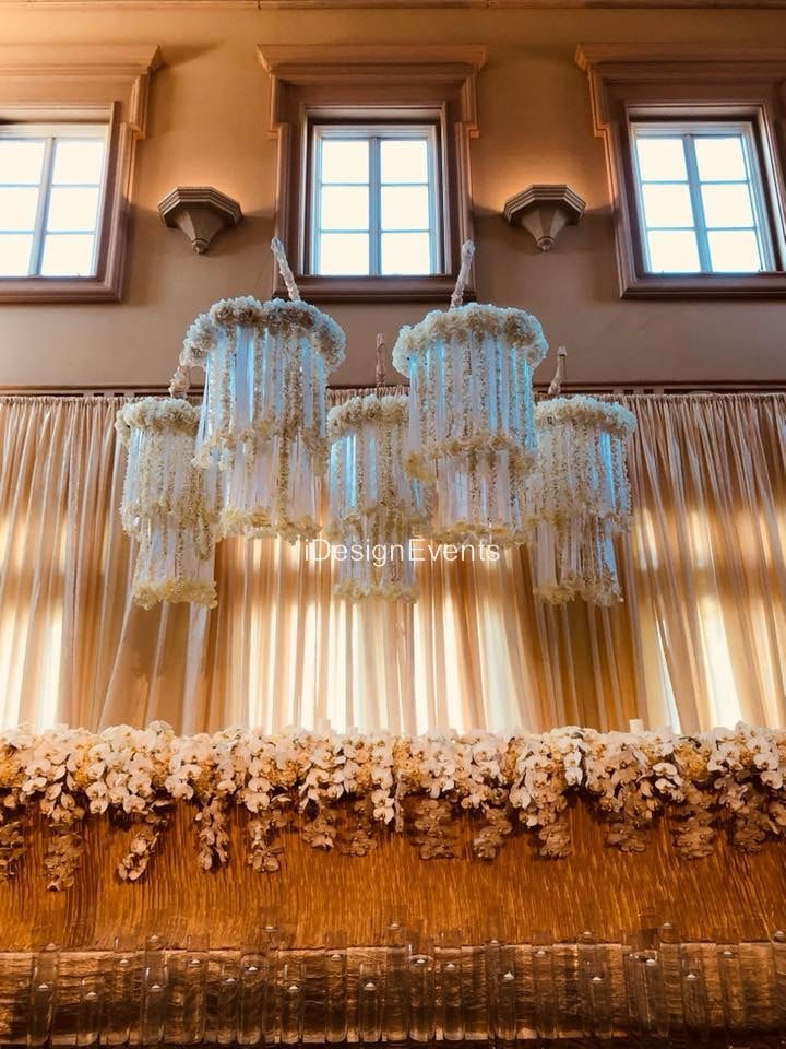 Flower Chandelier Backdrop Ivory and white One Stop Party Decor