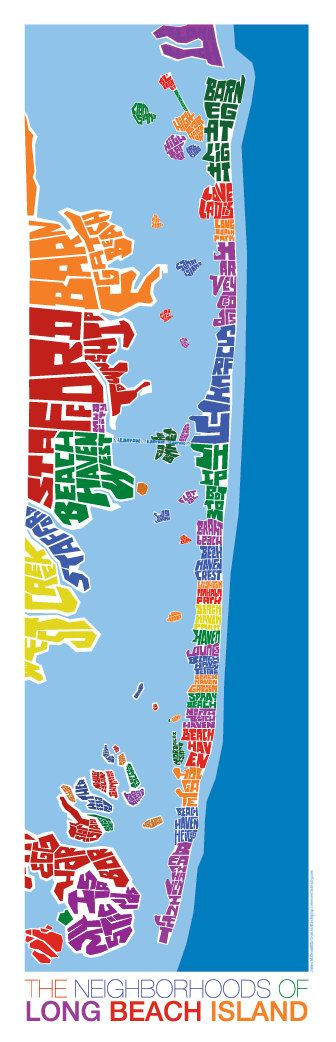 Long Beach Island New Jersey Rainbow Type Map by typemaps on Etsy