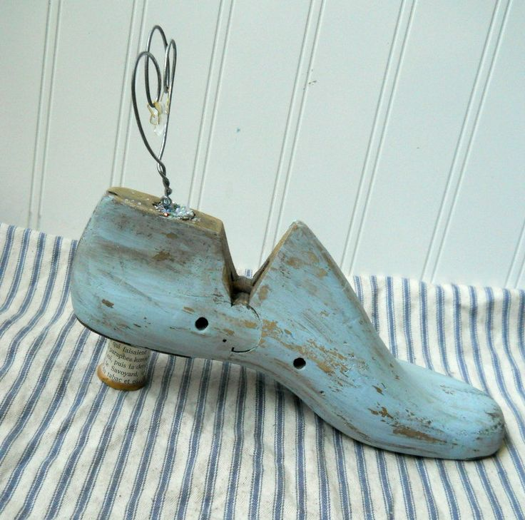 Photo display Upcycled Wooden cobblers last shoe form Marie Antoinette French Blue 1. via Etsy.