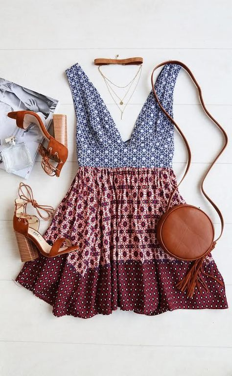 loving this BOHO plunge neck dual patterned dress and matching accessories #love ...