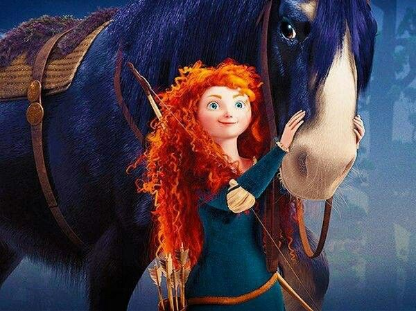 Мерида и Ангус с лошадью Храбрая сердцем Дисней