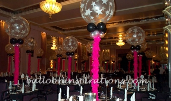 Balloon feather centerpieces roaring 20 39 s great gatsby for 1920s decoration