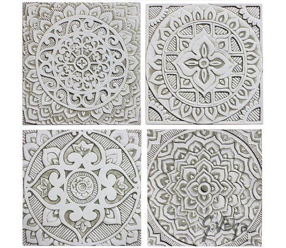4 Mandala wall hangings made from ceramic - Set of 4 - mandala wall art - mandala wall hanging - handmade tile - white