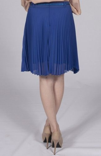 Blue Flared Wavy-Edged Skirt-California Collection