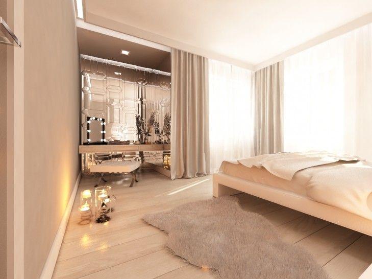 Projekt wnętrza eleganckiej sypialni w willi pod Warszawą. Przestronna sypialnia z toaletką odbijająca się w dekoracyjnych lustrach.