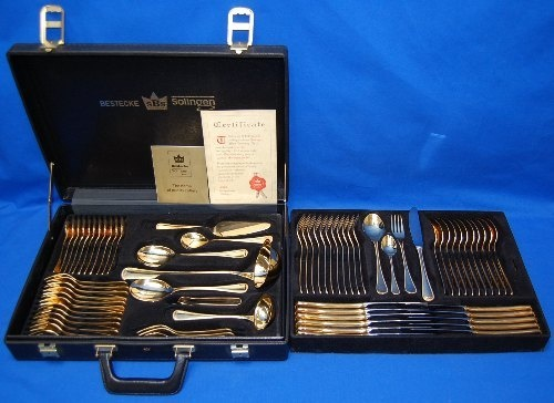 70pc Set 23/24K Gold Plated Bestecke Solingen Flatware