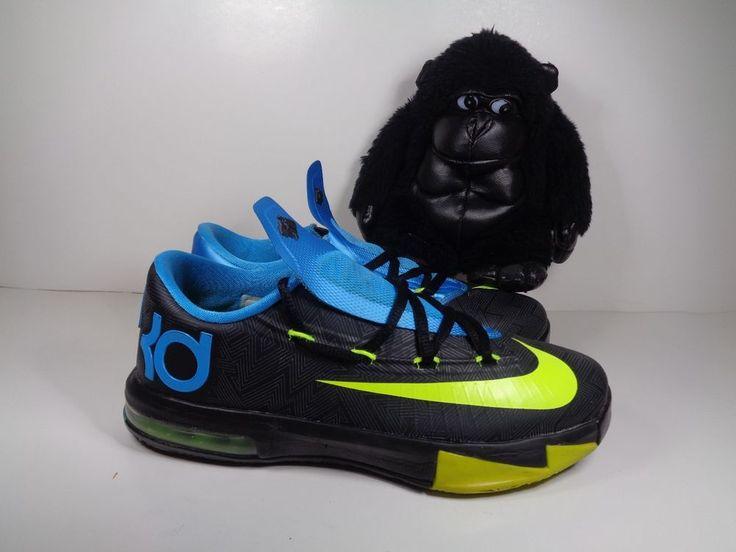 Kids Nike KD VI 6 Black Volt Vivid Blue Basketball shoes size 4.5 Y 599477-006 #Nike #Athletic
