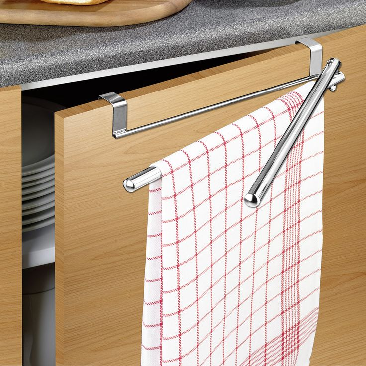 Wenko Over the Door Twin Swing Towel Rail, Stainless Steel