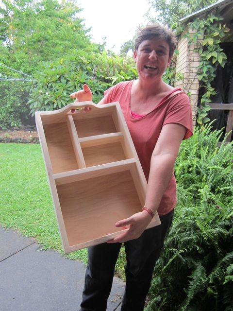 Renee proudly presents her first woodwork project