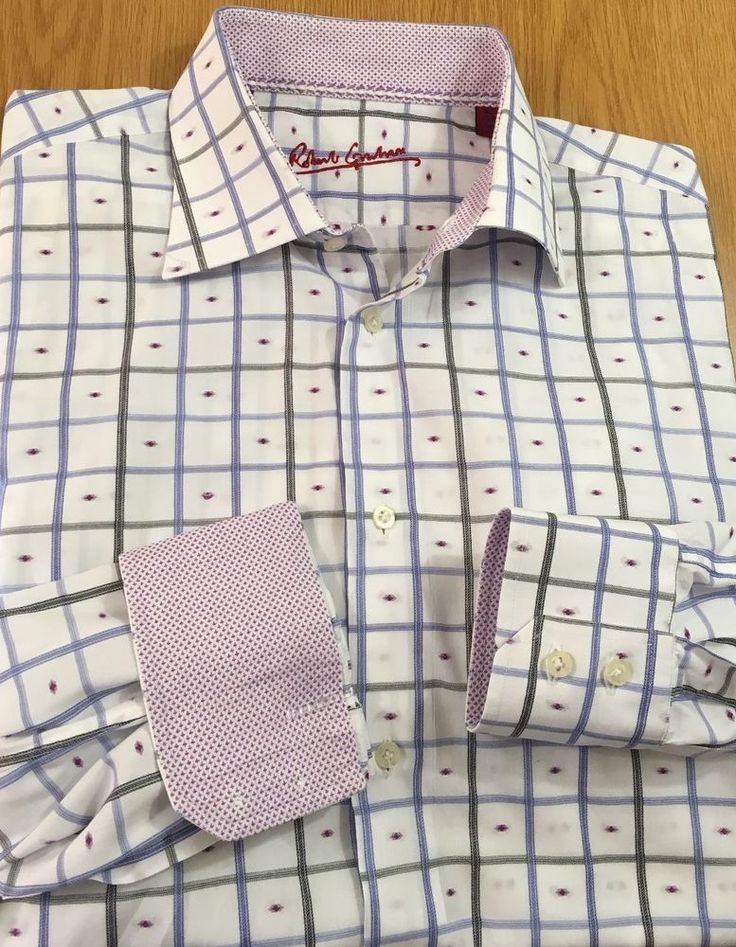 Robert Graham Flip Cuff Long Sleeve Button Down Shirt Size 42 16.5 Geometric  #RobertGraham