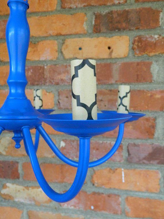 Blue Painted Chandelier By RestoredAndRenewed On Etsy 8500