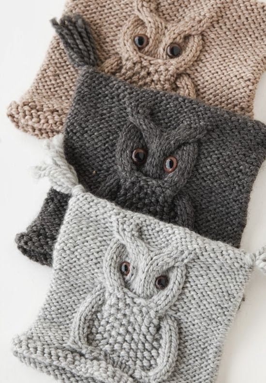 Cabled owl hats -- these would be so easy to make!