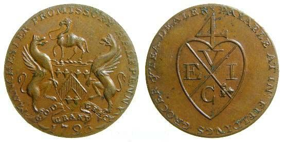 """""""Britain: Lancashire, Manchester Halfpenny Condor Token, 1793, East India Company. Town arms of Manchester. (Note Griffins and little camel, top). """"Manchester Promissory Halfpenny"""", """"1793"""" in exergue / Bale mark of the East India Company."""