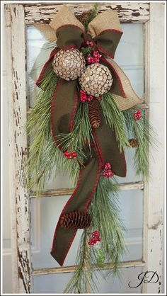 Simply Winter Too!- Pine, Cone and Ribbon Swag, Holiday Wreath, Chris…