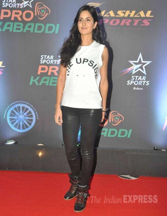 Katrina Kaif promoting #Phantom at the #ProKabaddi league finals in Mumbai. #Bollywood #Fashion #Style #Beauty