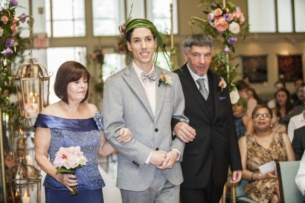 Darcy coming down the aisle with his parents