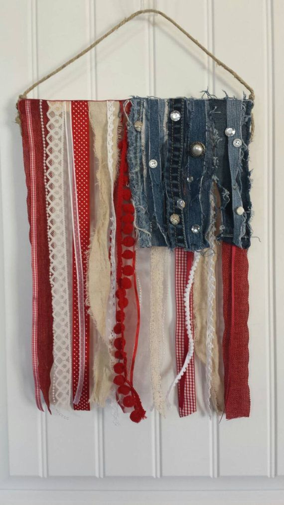 "Rustic American flag ribbon and fabric ""scrap"" wall or door hanging - add a beautiful and unique touch of ""Patriotic"" to your home decor!"