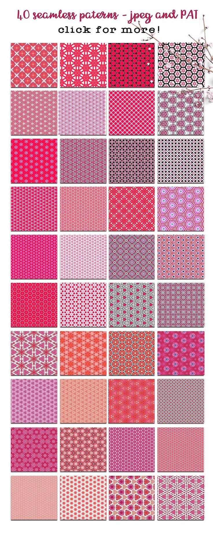 Fabulous Red Patterns by Seaside Digital on @creativemarket