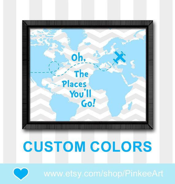 oh the place you'll go map baby boy nursery boys room decor dr seuss nursery gift for boys chevron kids room art playroom art baby gifts by PinkeeArt, $11.00