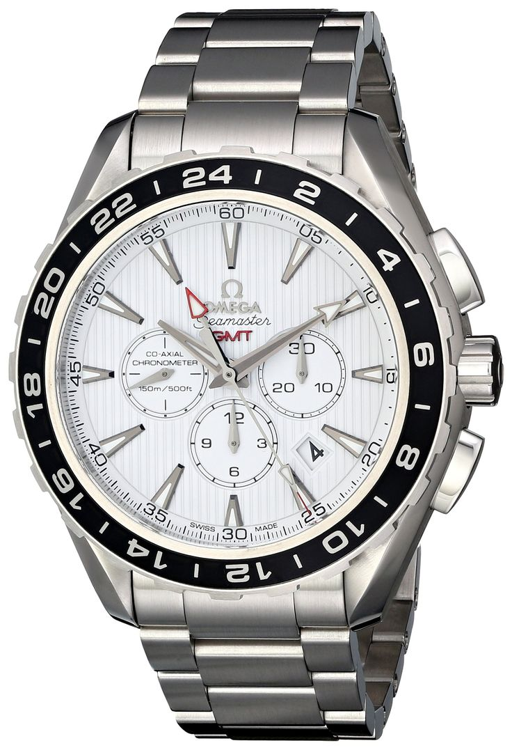 Omega Men's 231.10.44.52.04.001 Seamaster Aqua Terrra Stainless Steel Watch. Round watch with linear stripes on dial featuring black ion-plated bidirectional bezel and chronograph 60-second, 30-minute, and 12-hour subdials at center. 44 mm stainless steel case with antireflective-sapphire dial window. Automatic self-wind movement with analog display. Stainless link bracelet with invisible double-locking clasp. Water resistant to 150 m (500 ft): In general, suitable for recreational…