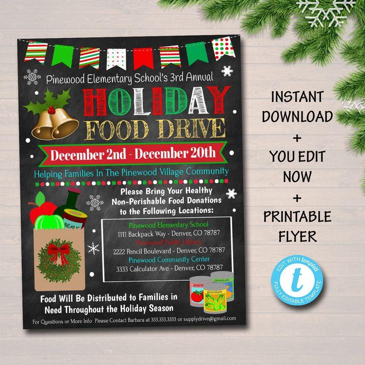 Editable holiday food drive flyer printable pta pto flyer