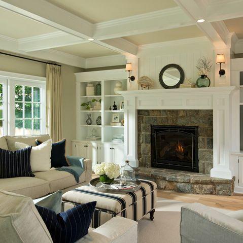 White built in bookshelves around fireplace design ideas - White fireplace living room ideas ...