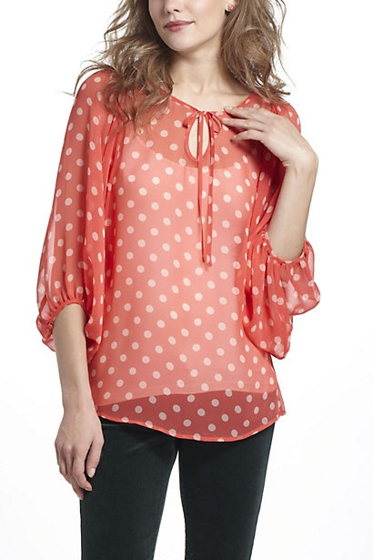 Spotted Peasant Blouse - Anthropologie.com
