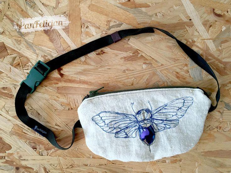 nerka z CYKADĄ - PanFelicjan  polish embroidery, belt bag