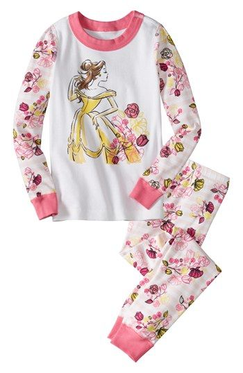 Hanna Andersson 'Disney Princess - Belle' Two-Piece Fitted Pajamas (Toddler Girls) available at #Nordstrom