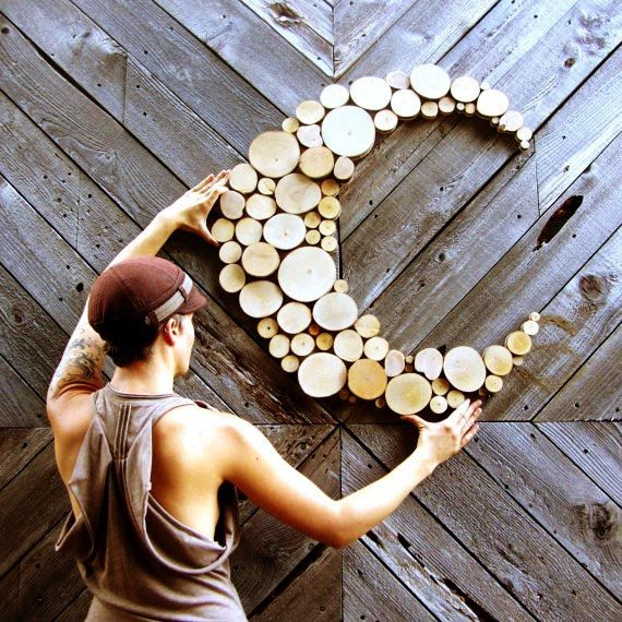 Made to Order Large Moon Abstract Moon Wood sculpture Tree slice sculpture Rustic Wood Wall art Wall hanging circle art wood slices