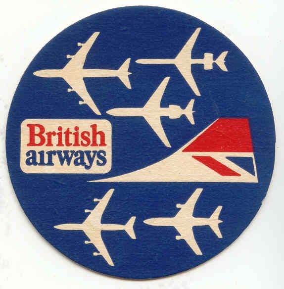 British Airways aircraft silhouettes & logo beermat from 1970s-1980s.