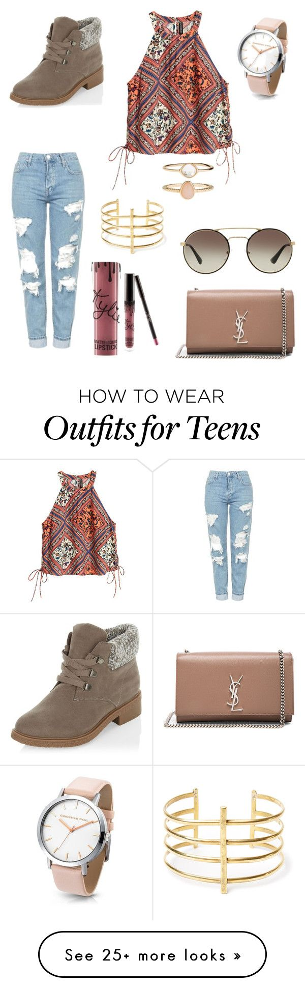 """""""SUPA SUPA cutes"""" by kaylens-i on Polyvore featuring New Look, Topshop, Yves Saint Laurent, Prada, Kylie Cosmetics, BauXo and Accessorize"""