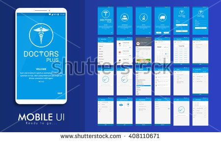 Material Design UI, UX, GUI screens for Health & Medical Mobile Apps with Doctor Details, Booking, Select Date, Time, Edit Profile, Appointment Details, Shipping Details, Payment & Order Features.