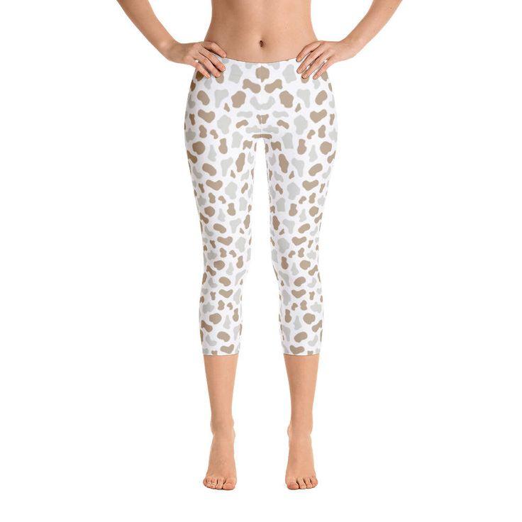 Excited to share the latest addition to my #etsy shop: Animal Skin-Capri Leggings, USA, Printful http://etsy.me/2oJ6JAR #clothing #women #pants #animal #nude #pattern #skin #wild #light