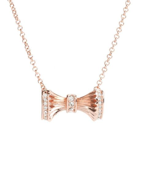 Bow detail necklace - Rose Gold | Jewellery | Ted Baker UK